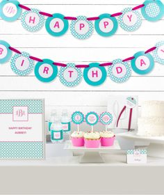 Build your very own preppy Monogram Birthday Party Decor Kit! Get exactly what you need from our unique line of handcrafted, fully assembled party decorations! Preppy Monogram, Cupcake Wrappers, Kit, Quatrefoil, Birthday Party Decorations, Happy Birthday, Kids Rugs, Invitations, Inspiration