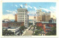 Vintage Savannah, Georgia: Bull St. facing South toward City Hall