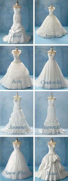 Disney inspired wedding dresses. I want the Cinderella one!