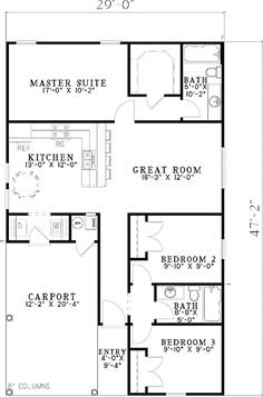 Carport Starter Home Plan - 59779ND | 1st Floor Master Suite, CAD Available, Carport, Cottage, Narrow Lot, PDF, Southern | Architectural Designs