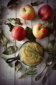 This sweet herbed applesauce is packed full of fresh fall apples, thyme and rosemary. It pairs perfectly with savory dishes and is great for Thanksgiving.