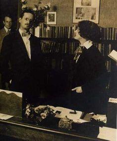 Joyce and Sylvia Beach in her office, 1921