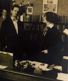 James Joyce and Sylvia Beach in her office, 1921