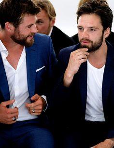 "sebastiansource: ""Chris Hemsworth & Sebastian Stan at the front row in HUGO BOSS Menswear SS18 Runway Show in New York City on July 11th 2017 """