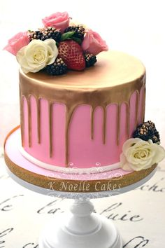 Chocolate Drip with gold gilding cake by K Noelle Cakes