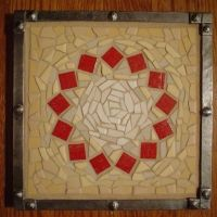 © Phoenix Handcraft mosaic trivet. Unglazed porcelain, vitreous glass, forged steel.