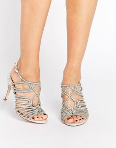 Image 1 ofFaith Luther Silver Embellished Strappy Sandals