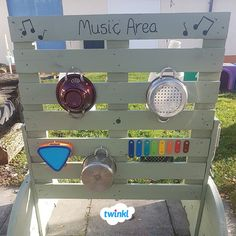 EYFS Outdoor Music Area Upcycling repurposing and reusing pots pans and instruments to create a simple effective and fun outdoor sound wall letting children make music Cl. Eyfs Activities, Nursery Activities, Outdoor Activities, Eyfs Outdoor Area Ideas, Summer Activities, Eyfs Classroom, Outdoor Classroom, Outdoor School, Outdoor Learning Spaces