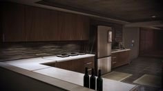 Mass Effect 3 Citadel Apartment - Kitchen Mass Effect Citadel, Mass Effect 1, Apartment Kitchen, Architecture Details, Kitchen Cabinets, Interior, Modern, Park City, Video Game