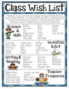 Mrs. Jones' Creation Station: Class Wish List