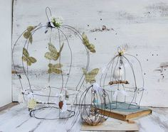 Birdcages. Make butterflies with cloth or felt