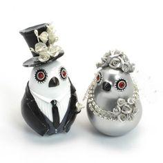 Love Birds Wedding Cake Topper Silver Black Wedding Decor B00014