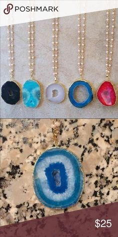Blue Agate Stone Necklace This beautiful necklace features an agate stone at the end of a beaded chain. This is available in indigo and we only have one left!! This actual stone is in second picture Jewelry Necklaces