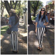 Look do dia • Calça listrada e camisa jeans