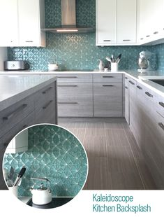 Kitchen Ideas Discover Sea Green Glass Mosaic Backsplash This blue green kaleidoscope kitchen backsplash balances out a calm brown and grey kitchen design. See Architectural Ceramics for more kitchen inspo. Home Decor Kitchen, Rustic Kitchen, New Kitchen, Home Kitchens, Home Renovation, Home Remodeling, Kitchen Renovations, Grey Kitchen Designs, Kitchen Ideas Color