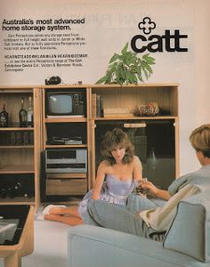 woman as Australia's most advanced home storage system - 1981 Home decor ad