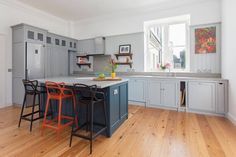 Hand-made Semi-Industrial kitchen in Georgian Open Plan Apartment. Open Plan Apartment, Polished Concrete, Cupboard, Solid Wood, Kitchen Design, Georgian, Islands, Table, Kitchens