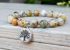 Natural Agate Gemstone Bracelet with Tree of Life Charm
