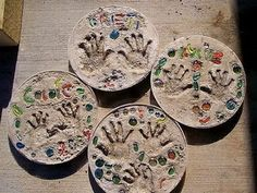 Make Stepping Stones Using Child's Handprint, Cool DIY Concrete Project Ideas, http://hative.com/cool-diy-concrete-project-ideas/,