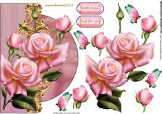 Shaped card Edwardian Roses on Craftsuprint designed by Marijke Kok - beautiful design with pink roses and lovely butterflies, for any occasion... - Now available for download!