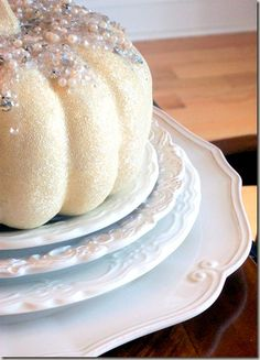White pumpkin decorated with bling