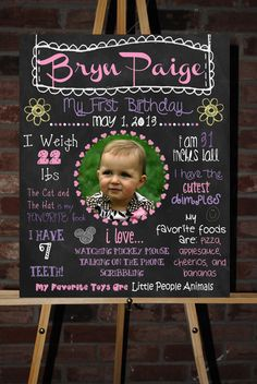 Custom First Birthday Photo Board Poster. $30.00, via Etsy. - could make for kids birthdays every year with black foam core board & colored paint pens!
