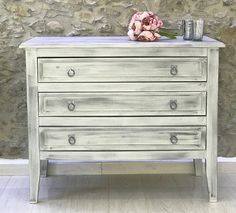 Chest of Drawers in wolf whistle and Silver Frenchic, finished with Clear Wax. The handles have been painted in Sexy silver Frensheen and Finishing Coat all by Frenchic Chest Of Drawers, Wolf, Bedrooms, Antiques, Kitchen, Silver, Furniture, Home Decor, Antiquities