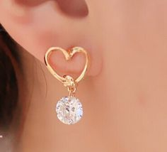Crystal Zircon Stud Heart Earrings