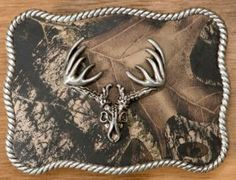 Camouflage w/ Silver Deer Skull Rectangle Buckle for Men and Women. NICE!