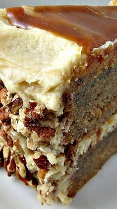 Apple spice layer cake with caramel swirl icing recipe. Made with a dark salted butter caramel sauce and mascarpone. I must make this for one of our fall holidays! Just Desserts, Delicious Desserts, Dessert Recipes, Spice Cake Recipes, Layer Cake Recipes, Apple Desserts, Apple Recipes, Sweet Recipes, Bolo Ferrero Rocher