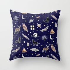 Night pattern Throw Pillow by laurafrere Graphic, Throw Pillows, Patterns, Night, Pattern, Drawing Drawing, Block Prints, Toss Pillows, Cushions