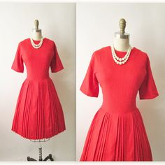 50's Tomato Red Dress // Vintage 1960's Linen Pleated Garden Party Day Dress M L. $70.00, via Etsy.