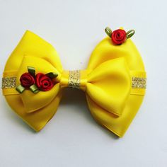 Check out our disney belle bow selection for the very best in unique or custom, handmade pieces from our shops. Princess Hair Bows, Girl Hair Bows, Princess Sofia, Belle Hairstyle, Updo Hairstyle, Disney Hair Bows, Robes Tutu, Hair Bow Tutorial, Flower Tutorial
