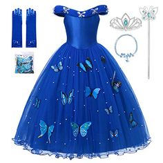 MUABABY Princess Cinderella Dress up Clothes Girl Off Shoulder Pageant Ball Gown Kids Deluxe Fluffy Bead Halloween Party Costume Princess Costumes For Girls, Cinderella Dress For Girls, Girls Dress Up, Dress Up Outfits, Dress Up Costumes, Girl Costumes, Girl Outfits, Cinderella Princess, Princess Dresses For Kids