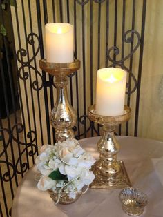 Gold Wedding Candle Holders with Accent Florals provided by BundleBride in Conroe