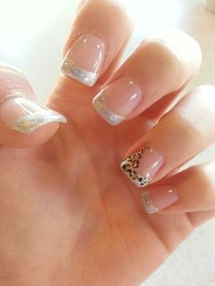 Silver french tip with cheetah print