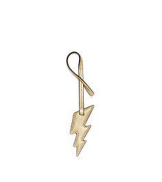 Large Lightening Bolt Metallic Saffiano Leather Keychain  by Michael Kors