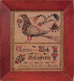 """Southeastern Pennsylvania watercolor and ink on paper fraktur birth record for Maria Metz, dated 1794, 4 3/4"""" x 4""""."""