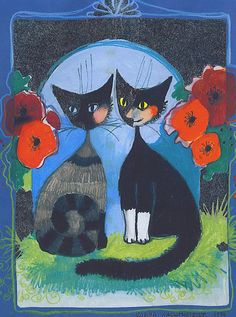 """""""Two Cats"""" par Rosina Wachtmeister"""
