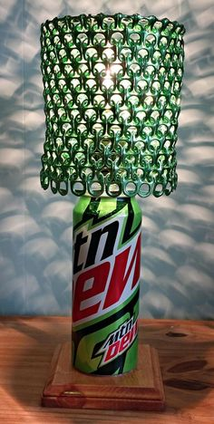 Mountain Dew Soda Can Lamp with Metallic Green Pull Tab Lamp Shade by LicenseToCraft on Etsy, $40.00