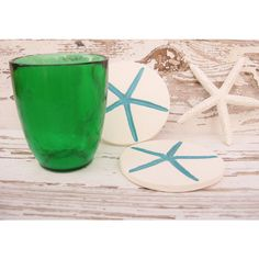 Starfish cup coaster drink coasters glass coaster set 2 natural ceramic clay ($11) found on Polyvore featuring home, kitchen & dining and bar tools