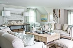 Hamptons Pool House designed in subtle hues of sky, sea and sand.