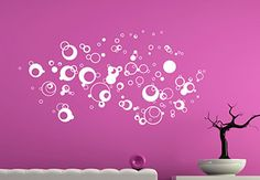 Set of Air Bubbles to decorate your Walls. Boost your interior with this decorative set. Revive your walls with this soapy and bubbly design! Just stick it up. Made in USA.