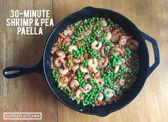Shrimp and pea paella