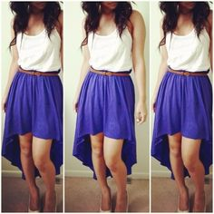 White top black skirt high low dress