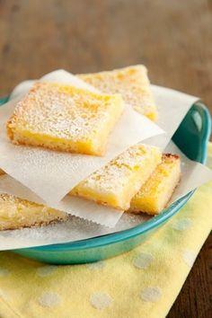 Lighter Lemon Bars - Only 121 Calories per slice.. LOVE lemon bars!