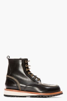 DSQUARED2 Black Leather Moccasin Stitched Lucida Boots, Mens Fall Winter Fashion.