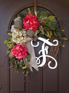 Spring Wreath for Front Door - Everyday Hydrangea Wreath with Monogram - Summer Grapevine Wreath with Initial - Housewarming Gift
