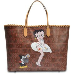 Moschino Betty Boop shopper bag ($1,302) ❤ liked on Polyvore featuring bags, handbags, tote bags, brown, shopping bag, canvas handbags, monogram canvas tote, canvas totes and canvas shopping tote