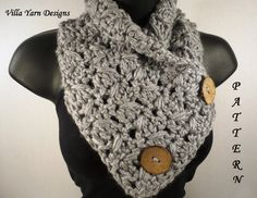 Crochet Scarf Pattern, Button Cowl, Neck Warmer, Instant Download